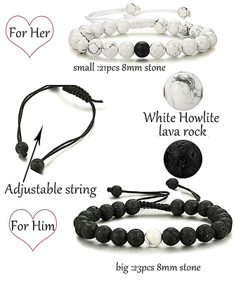 Relationship His and Hers Distance Bracelets  2 Pcs Couple Natural Stone Wrap