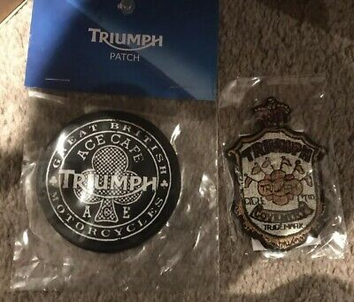 2 Genuine Triumph Motorcycle Saw On Ace Cafe Patch And Union Triangle Patch