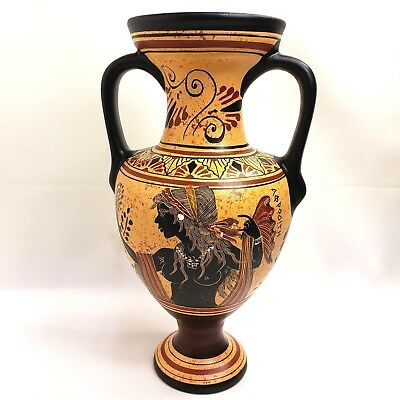 Ancient Greek Goddess Aphrodite Venus & God Dionysius Art Pottery Vase Amphora