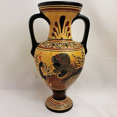 Ancient Greek Goddess Demeter Demetra & God Zeus Rare Art Pottery Vase Amphora