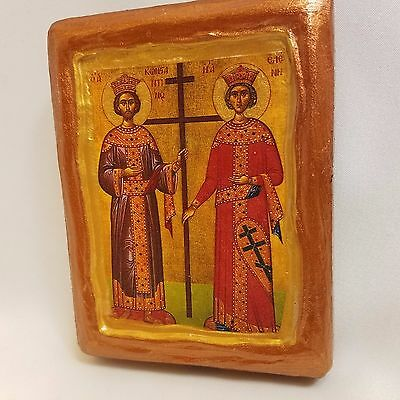 Saint Constantine and Saint Helen Rare Byzantine Greek Orthodox Icon OOAK