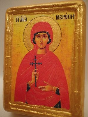 Saint Meropie Rare Byzantine Greek Eastern Orthodox Religious Icon Wood Block