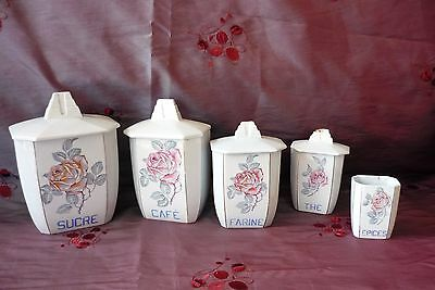 Serie Anciens Pots A Epices En Faience Boites Farine Cafe French The Spice Pots