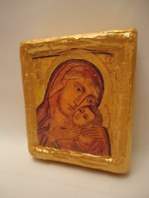 Virgin Mary Jesus Christ Christianity Rare Russian Orthodox Icon on Real Wood