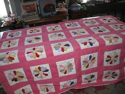 Antique  1930's 1940's Feedsack Dresden Plate Quilt Old Pinks  Full 84 1/2 X 72""