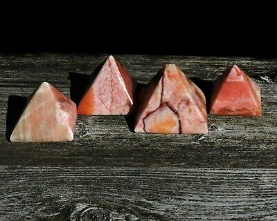 Vintage Hand Carved Solid Stone Egyptian Pink Banded Alabaster Pyramid Statue