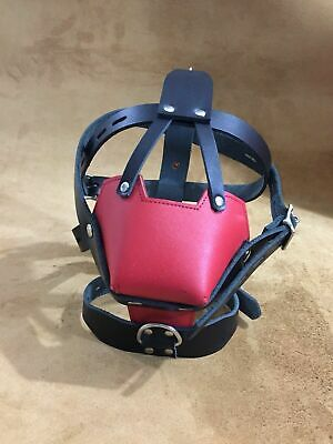 GENUINE LEATHER BONDAGE PADDED FACE MUZZLE HEAD HARNESS Red And Black