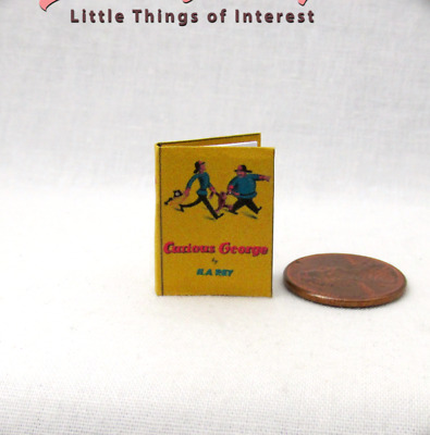 CURIOUS GEORGE Illustrated Miniature Book Dollhouse 1:12 Scale Readable Book