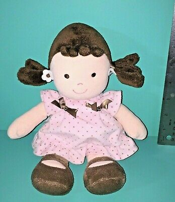 Carters Child Of Mine Girl Doll Pink Brown Dots Dress Plush Rattle Baby Lovey
