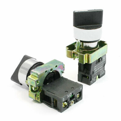 2 PCS N/O 2 Position SPST Self Locking Rotary Selector Switch Ith 10A Ui 600V