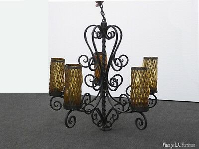 "33"" Tall Vintage Spanish Style Wrought Iron Chandelier Light w Tall Gold Shades"