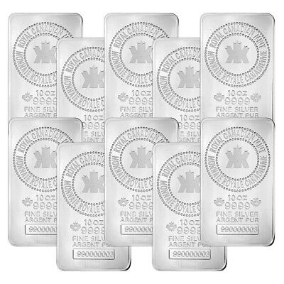 Lot of 10 x 10 oz New Royal Canadian Mint Silver Bar