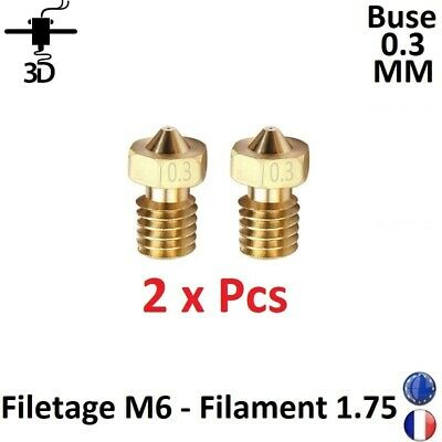 2 x Buse Nozzle 0.3mm M6 Filament 1.75mm Extrudeur V5,V6 Imprimante 3D Printer
