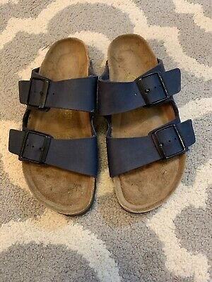 8e69c4102f03 Birkenstock Buckle Strap Slides Sandals Womens 37 Size 6 Navy Blue EUC!