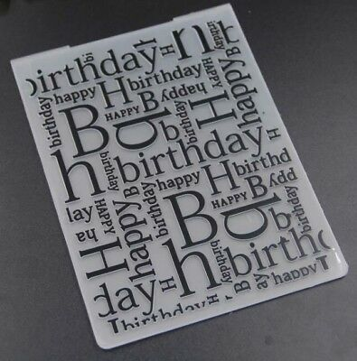 Brand New Happy birthday worded embossing folder