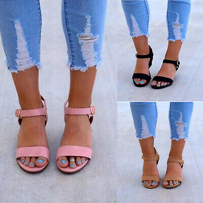 UK Womens Ladies Ankle Strap Wedge Sandals Summer Casual Dress Buckle Shoes Size