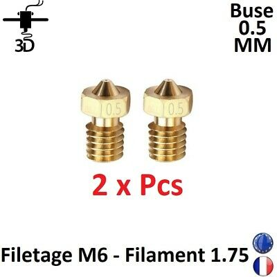 2 x Buse Nozzle 0.5mm M6 Filament 1.75mm Extrudeur V5,V6 Imprimante 3D Printer