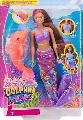 Barbie Dolphin Magic Transforming Mermaid Doll & Accessories - New