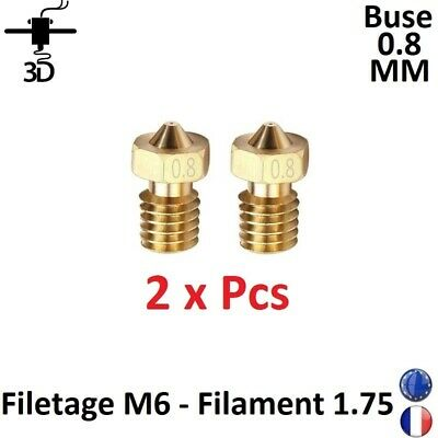 2 x Buse Nozzle 0.8mm M6 Filament 1.75mm Extrudeur V5,V6 Imprimante 3D Printer