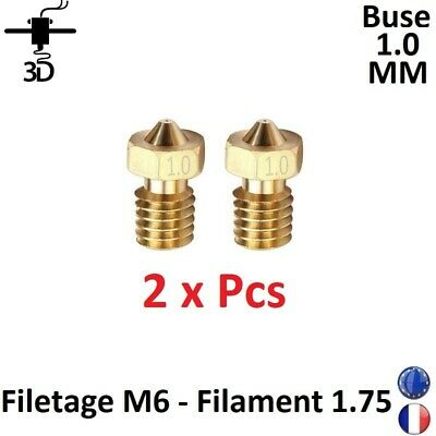2 x Buse Nozzle 1.0mm M6 Filament 1.75mm Extrudeur V5,V6 Imprimante 3D Printer