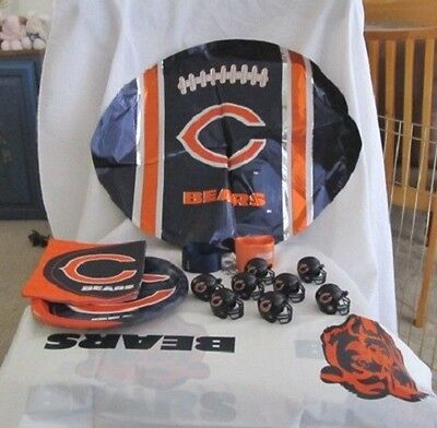 Chicago Bear's NFL Party Pack ~ Mini Helmets, Table Cloth, etc. ~ Lots of extras