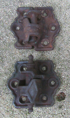 Pair of 2 ea Antique Door/Gate Hinges Cast Iron,(Similar,but Different),V.Good