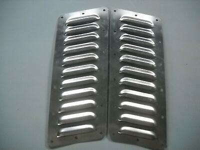 "Tilted Pair of 11 4"" Louvered Panels Hood louvers Bolt-on style Vent Kit Jeep"
