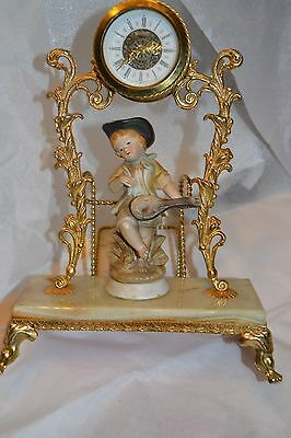 Vntg Clock Onyx/Brass Platform w Porcelain Child Figure Entertaining  #999114H