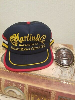 b0174db71 RARE VTG C.F Martin & CO.Guitar Makers Trucker Hat and Leather Belt ...