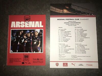 TEAM SHEET INCLUDED Arsenal v Southampton 24/02/2019 Official Programme!