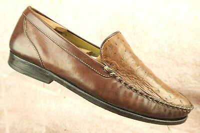 965764a73d8 Cole Haan Brown Exotic Ostrich Leather Casual Slip On Loafers Shoes Men s  ...