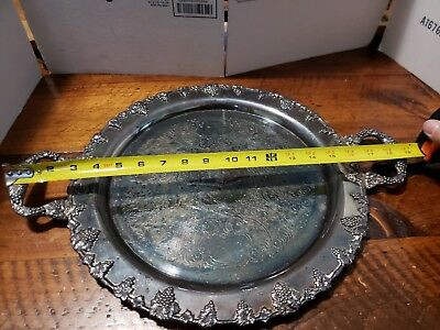 "Federal & Co. Intricate 18-1/2"" Dual Handle Silver on Copper Tray Grape Leaf"