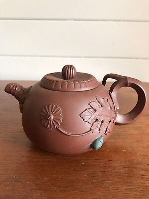 Vintage Authentic Chinese Yixing Clay Teapot With Applied Decoration Signed
