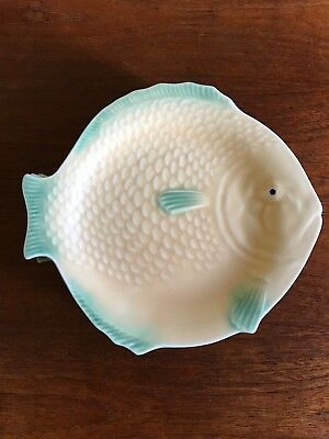 Vintage Art Deco Shorter and Son Fish Dinner Plate Yellow and Green 5 Available