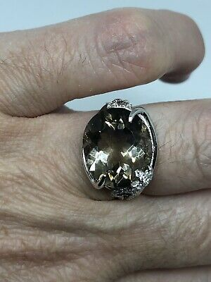 Vintage Genuine Smoky Topaz 925 Sterling Silver Deco Cocktail Ring