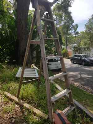 Timber Ladder Antique Very Solid Great for Display Tall Ladder
