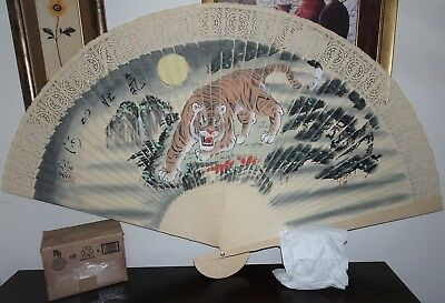 Vintage Signed Large Two Sided Chinese Ornate Wooden Wall Fan~Tiger~Scenic