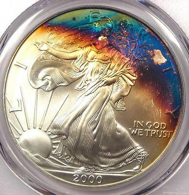 2000 Toned American Silver Eagle Dollar $1 ASE - PCGS MS68 - Rainbow Toning Coin