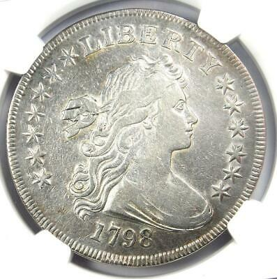 1798 SMALL Eagle Draped Bust Silver Dollar $1 - NGC VF Details - Looks XF!