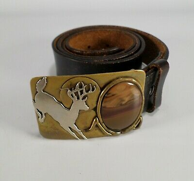 James Rockwell Whitetail Deer Buckle Agate Stone Bench Craft Leather Belt 38 40