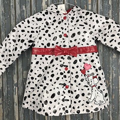 disney store 101 dalmatians girls white black raincoat size 2 polka dot red bows