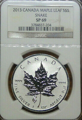 2013 Canadian Silver Maple Leaf, Snake Privy Mark 1oz NGC SP69 Graded Slab