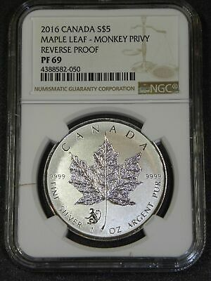 2016 Monkey Privy Canadian Silver Maple Leaf Reverse Proof Coin NGC PF69