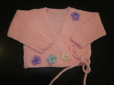 Hand Knitted Baby Cardi  Size 000  New Without Tags
