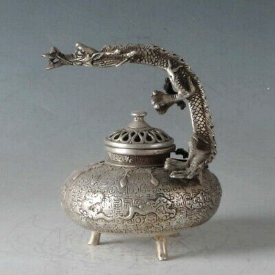 Chinese Silvering Copper Dragon Incense Burner Made During The Da Ming Xuande+a