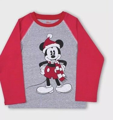 disney mickey mouse in santa hat raglan holiday shirt baby boy 12 months NWT