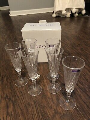 Marquis by Waterford Newberry Set of Six Crystalline Flutes (new damaged box)