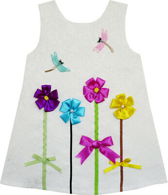 Girls Dress Tank Jacquard Embroidered Dragonfly Flower Age 2-6 Years UK STOCK !