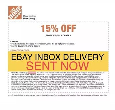 ONE 1x Home Depot 15% Off-1coupon- In Store Only -saving 200$ max 4/1/19