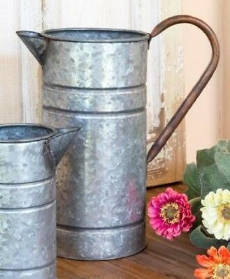 WATERING CAN Farmhouse Galvanized Tin/Metal Large Southern Charm Flower Vase